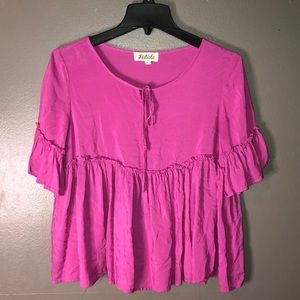 Listicle bright purple cropped flowy top size s